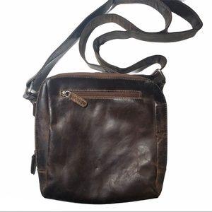 Adrian Klis Distressed Leather Sling Back Bag